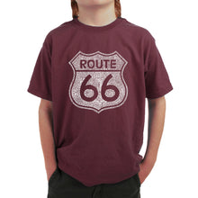Load image into Gallery viewer, LA Pop Art Boy's Word Art T-shirt - CITIES ALONG THE LEGENDARY ROUTE 66