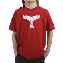 Load image into Gallery viewer, LA Pop Art Boy's Word Art T-shirt - SAVE THE WHALES