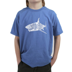 LA Pop Art Boy's Word Art T-shirt - SPECIES OF SHARK