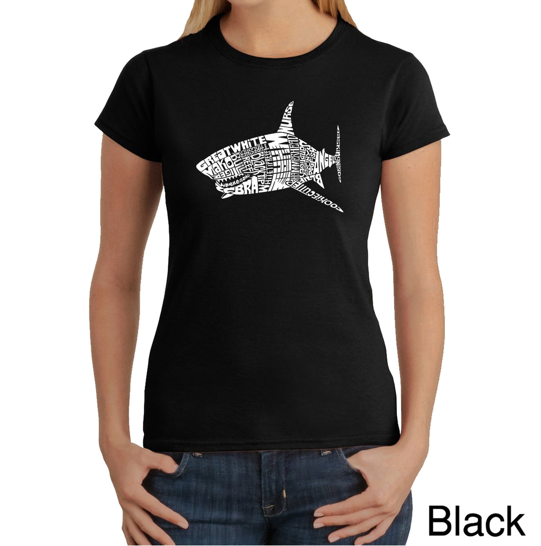 LA Pop Art Women's Word Art T-Shirt - SPECIES OF SHARK