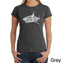 Load image into Gallery viewer, LA Pop Art Women's Word Art T-Shirt - SPECIES OF SHARK