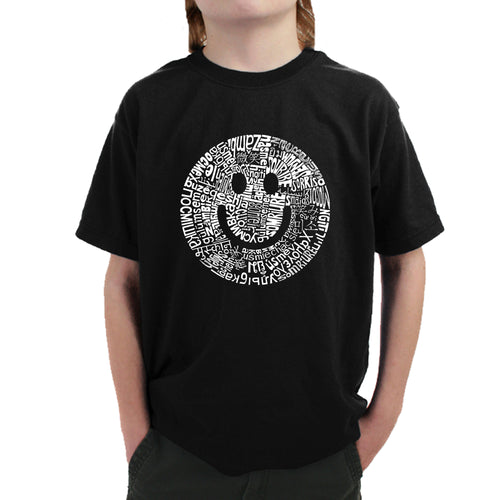 LA Pop Art Boy's Word Art T-shirt - SMILE IN DIFFERENT LANGUAGES