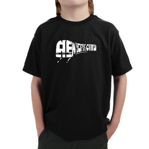 LA Pop Art Boy's Word Art T-shirt - NY SUBWAY