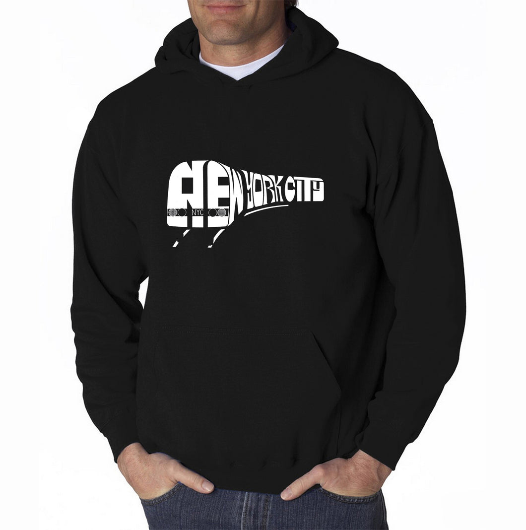 LA Pop Art Men's Word Art Hooded Sweatshirt - NY SUBWAY