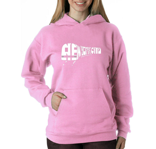 LA Pop Art Women's Word Art Hooded Sweatshirt -NY SUBWAY