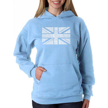 Load image into Gallery viewer, LA Pop Art Women's Word Art Hooded Sweatshirt -UNION JACK