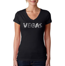 Load image into Gallery viewer, LA Pop Art Women's Word Art V-Neck T-Shirt - VEGAS