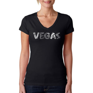 LA Pop Art Women's Word Art V-Neck T-Shirt - VEGAS