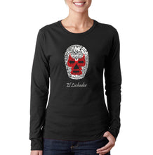 Load image into Gallery viewer, LA Pop Art Women's Word Art Long Sleeve T-Shirt - MEXICAN WRESTLING MASK