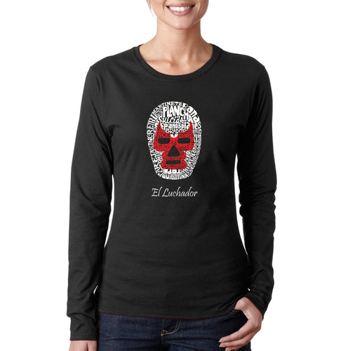 LA Pop Art Women's Word Art Long Sleeve T-Shirt - MEXICAN WRESTLING MASK