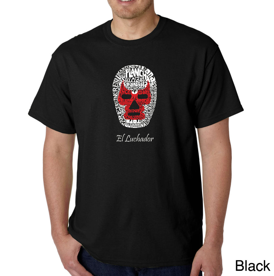 LA Pop Art Men's Word Art T-shirt - MEXICAN WRESTLING MASK