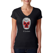 Load image into Gallery viewer, LA Pop Art Women's Word Art V-Neck T-Shirt - MEXICAN WRESTLING MASK
