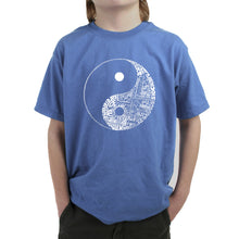 Load image into Gallery viewer, LA Pop Art Boy's Word Art T-shirt - YIN YANG