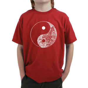 LA Pop Art Boy's Word Art T-shirt - YIN YANG