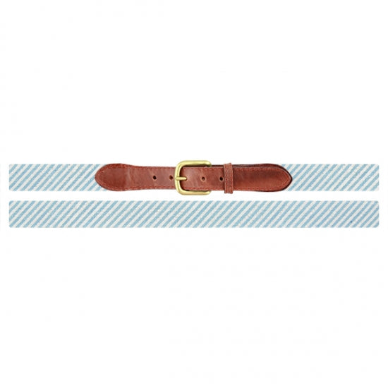 Blue Seersucker Needlepoint Belt