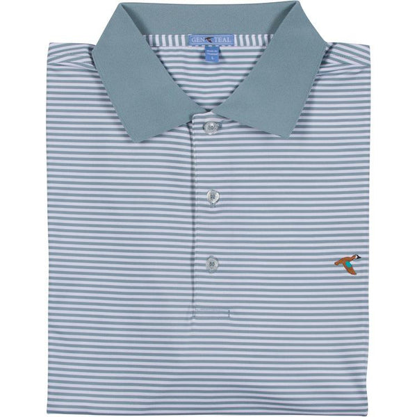 Striped Knit Collar Performance Polo