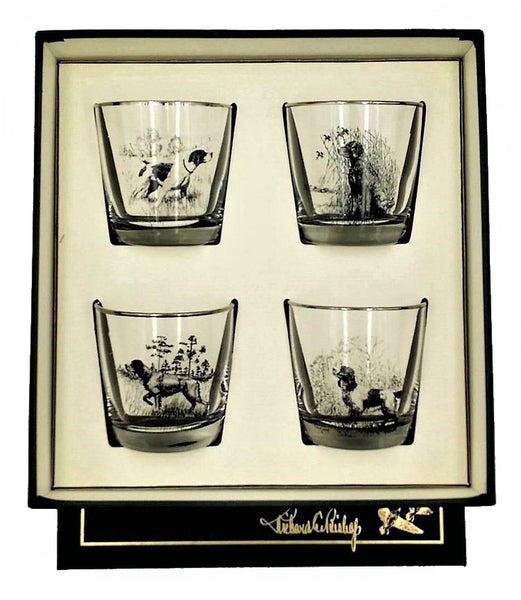 Classic Tapered Old Fashioned Glass Set Sporting Dogs