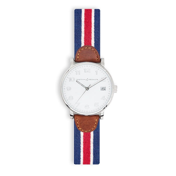 Red Multi Stripe Needlepoint Watch