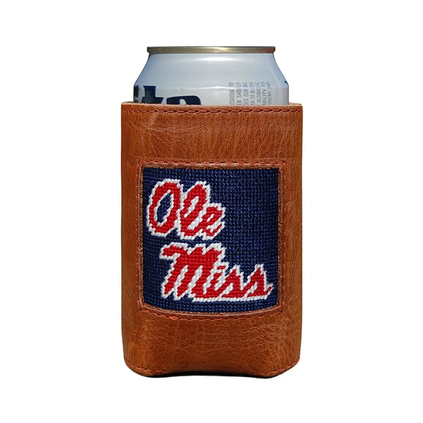 Ole Miss (Navy) Leather Needlepoint Koozie
