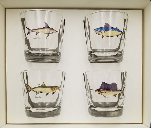 Optic Double Old Fashioned Glass Set Game Fish