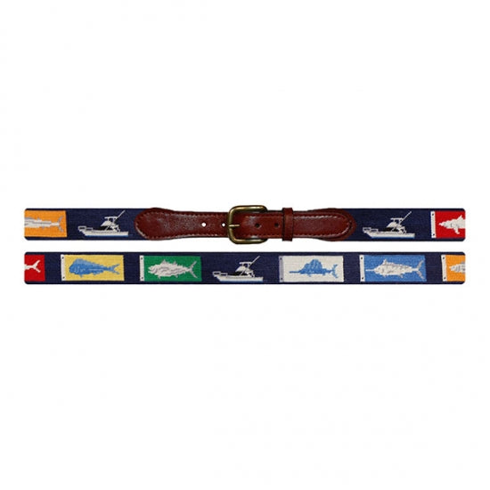 Sportfishing (Navy) Needlepoint Belt