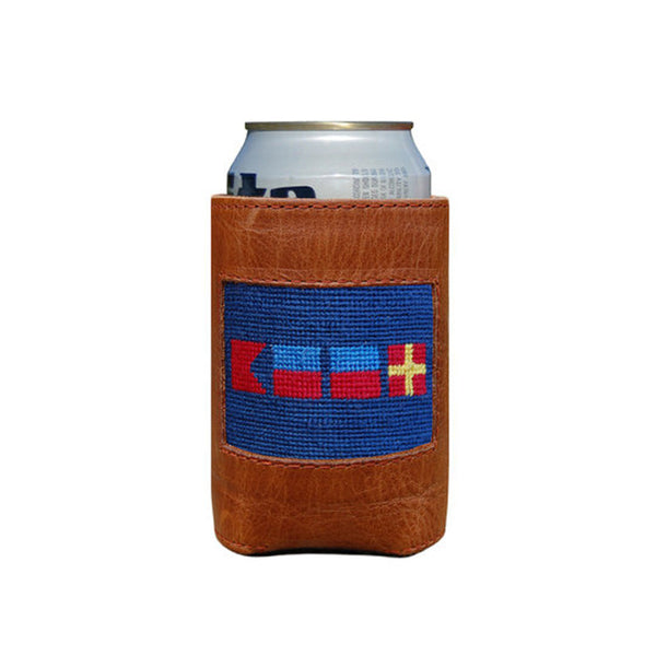 "Leather Needlepoint ""Beer"" Nautical Flags Koozie"
