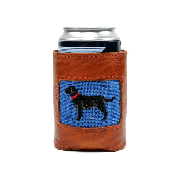 Black Lab Leather Needlepoint Koozie
