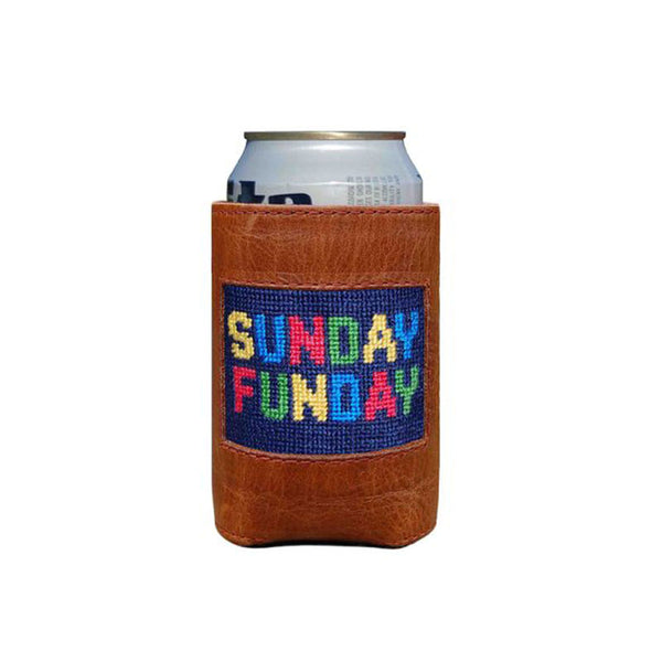 Sunday Funday Leather Needlepoint Koozie