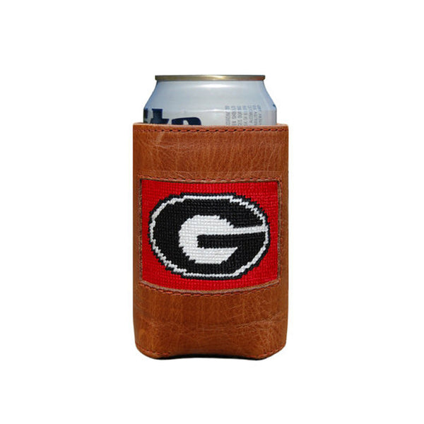 University of Georgia (Red) Leather Needlepoint Koozie