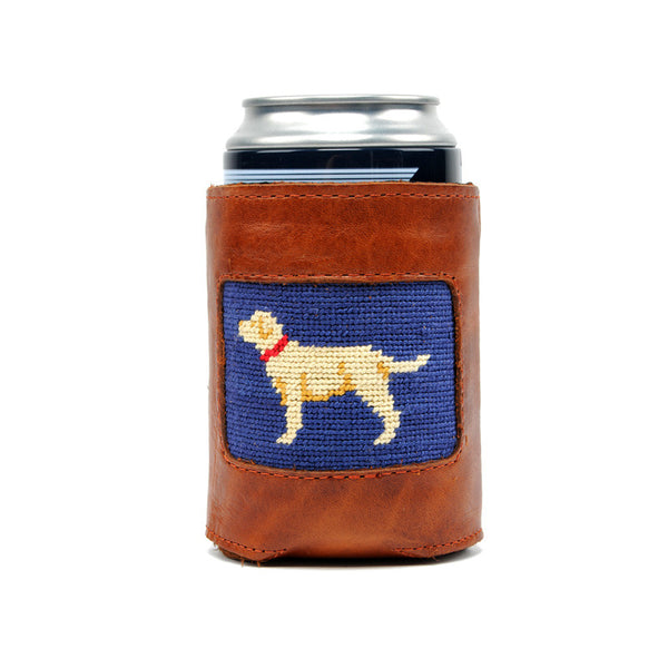 Yellow Lab Leather Needlepoint Koozie