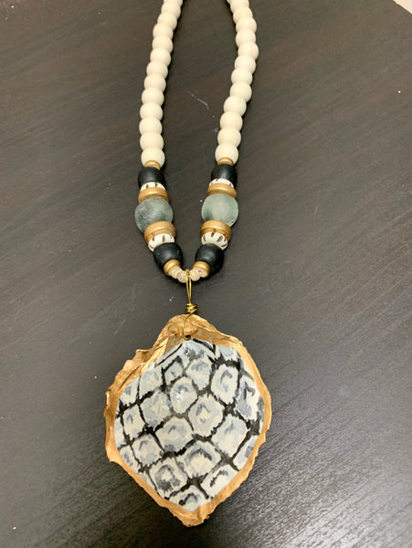 Painted Oyster Shell Necklace