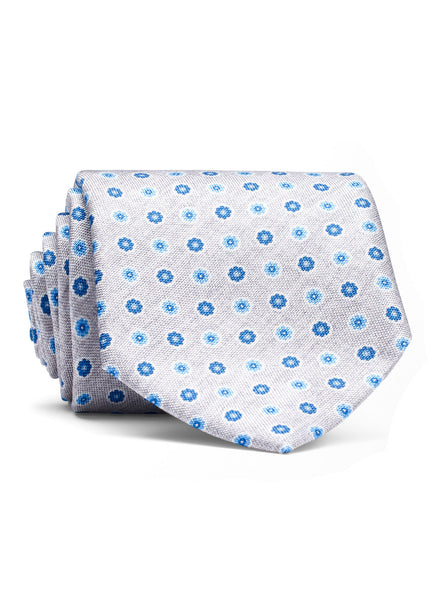 Starry Greay Flowers Tie