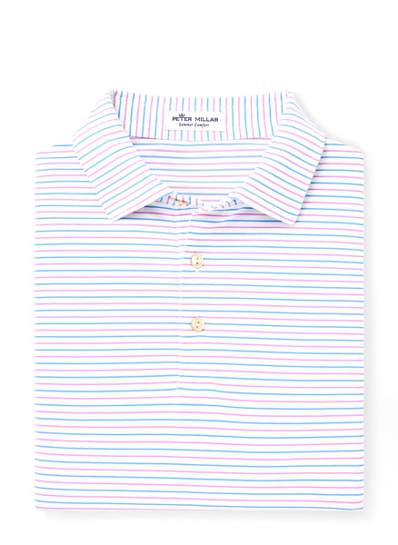 Peace Stripe Stretch Mesh Polo