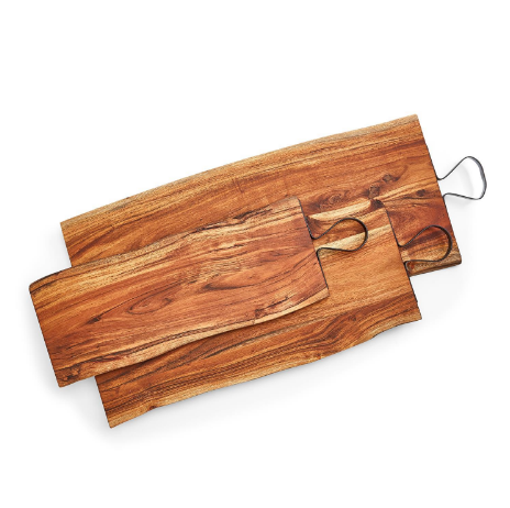 Acacia Wood Serving Board with Iron Handle