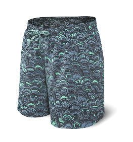 "7"" Cannon Ball 2 In 1 Swim Shorts - Grey Fish Scales"