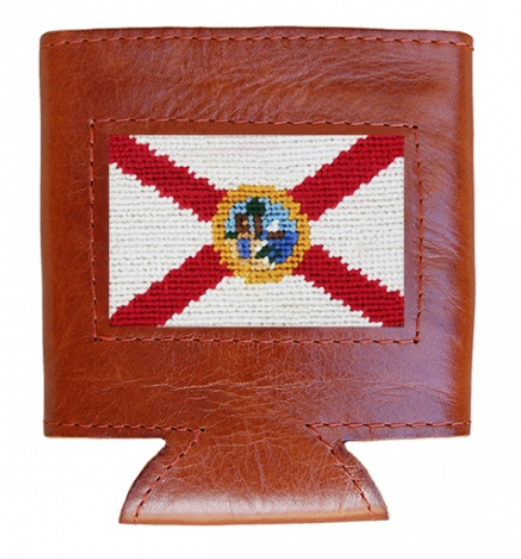 Florida Flag Leather Needlepoint Koozie