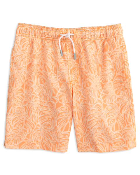 Youth Tonal Palm Print Swim Trunk