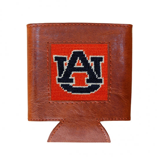 Auburn University (Orange) Leather Needlepoint Koozie
