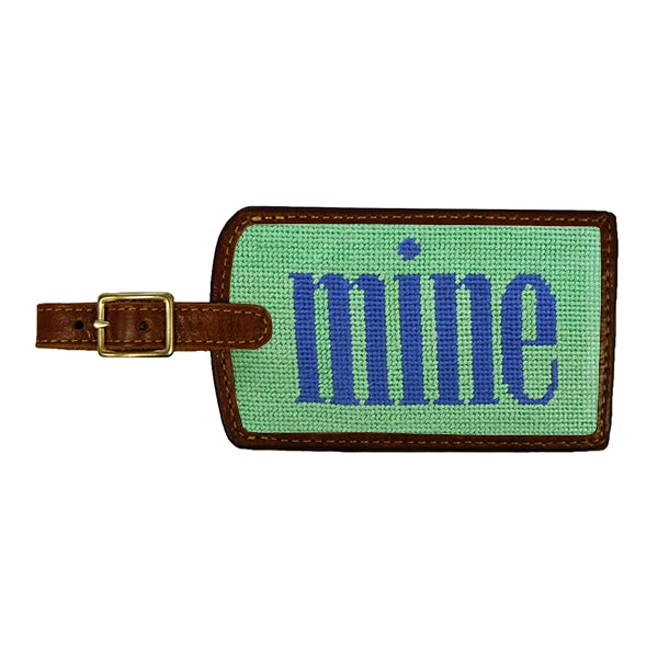 Mine (Mint) Needlepoint Luggage Tag