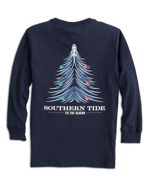 Youth Holiday Waves Tree LS T-Shirt