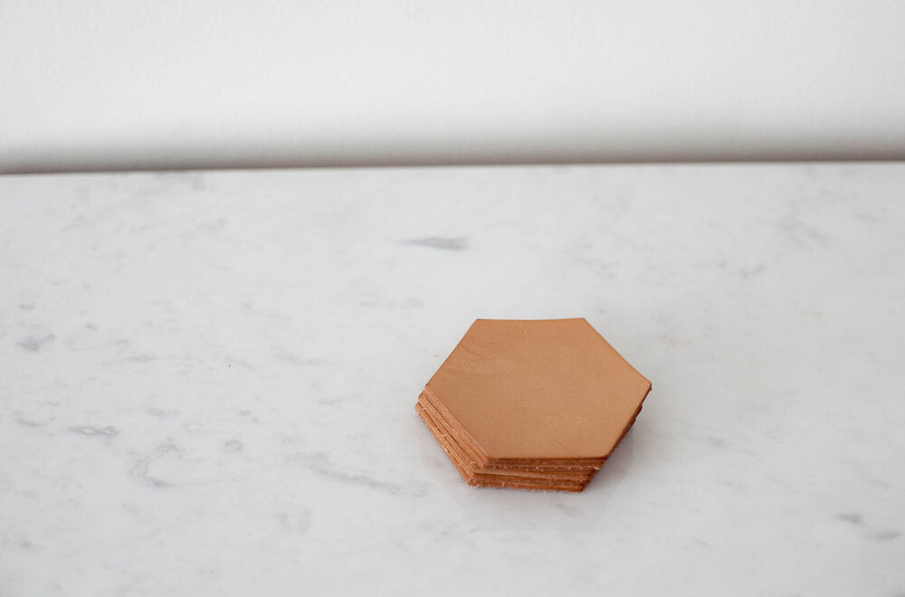 Hex Leather Coasters - Set of 6