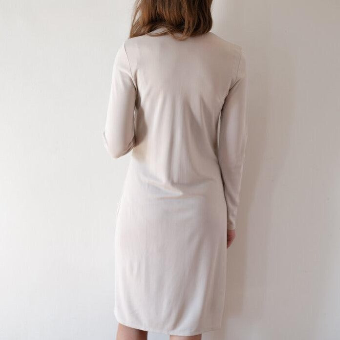 Light Greige Button-Up Dress