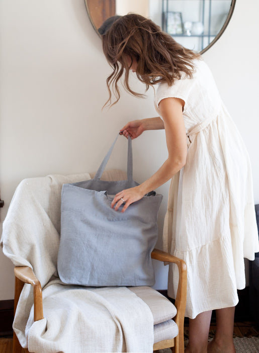 Oversized Linen Bag - Light Grey