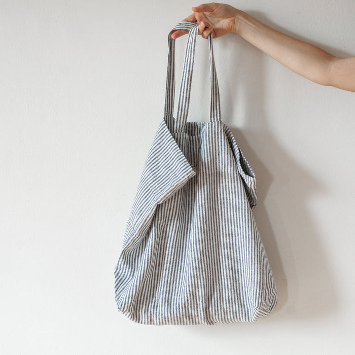 Oversized Linen Bag - Thin Black Stripe