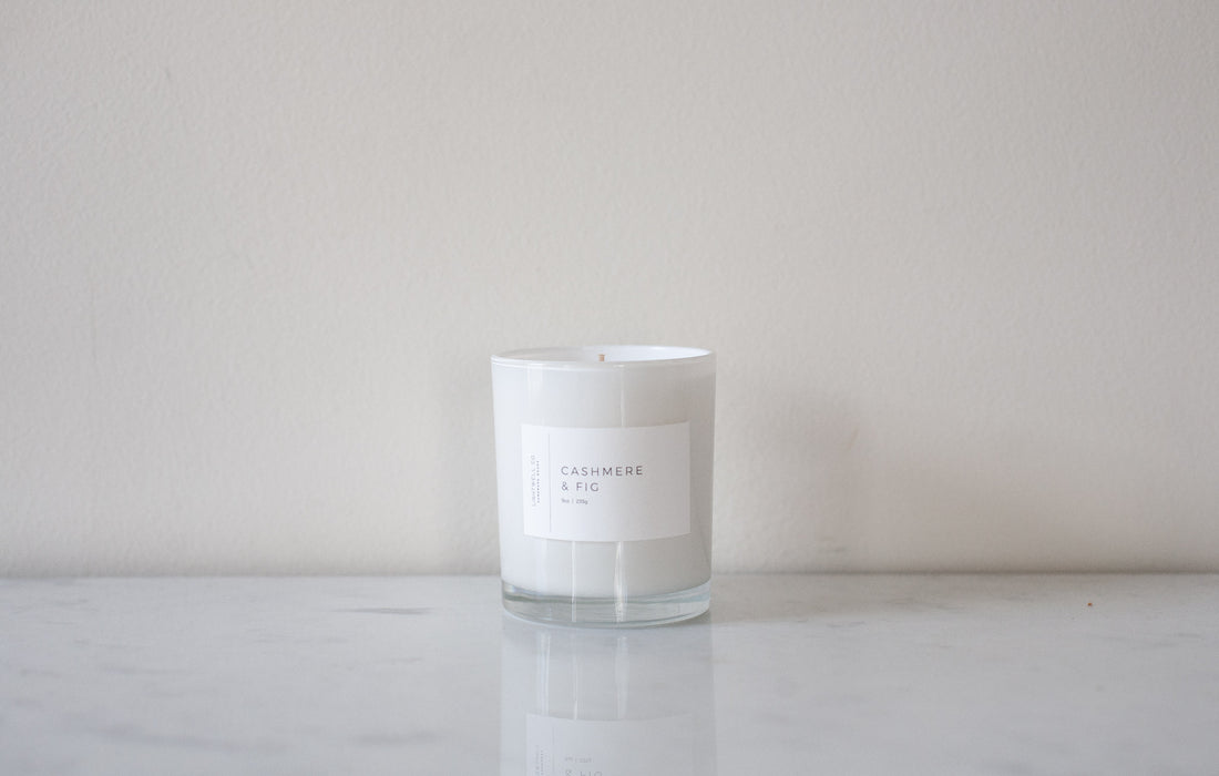 White Tumbler Candle - Cashmere & Fig