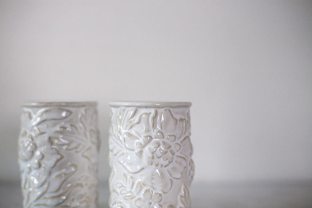 Botanical Ceramic Cups - Set of 2