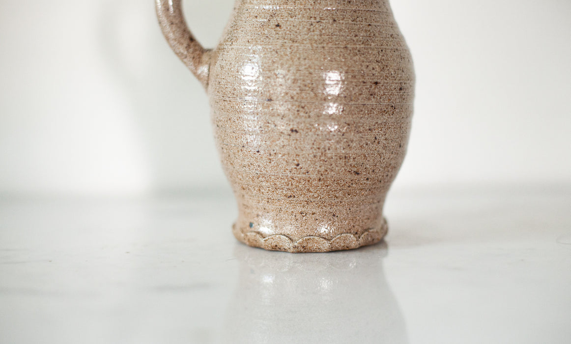 Speckled Jug Vase with Scalloped Base