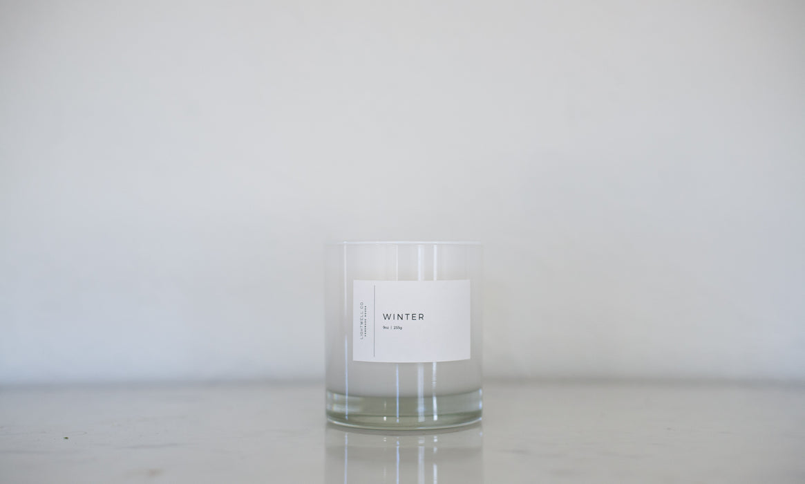 White Tumbler Candle - Winter