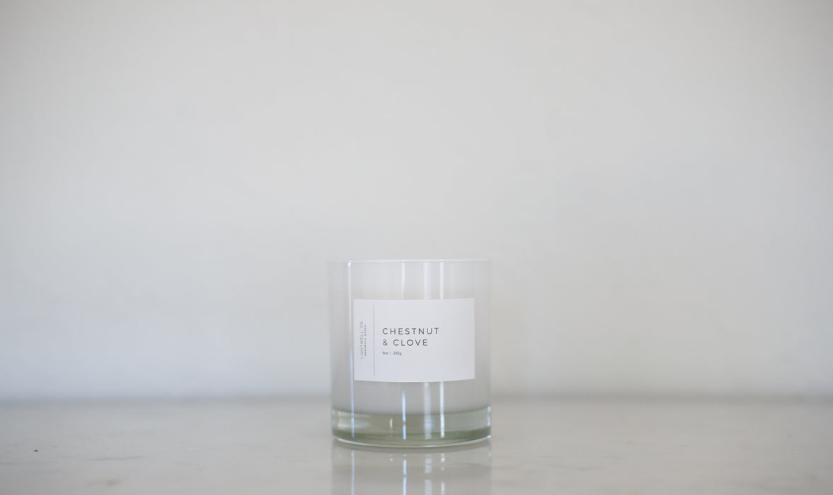 White Tumbler Candle - Chestnut & Clove