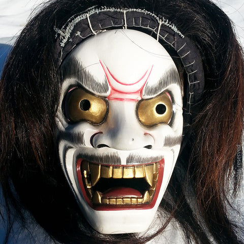 Oni Noh Mask with real hair